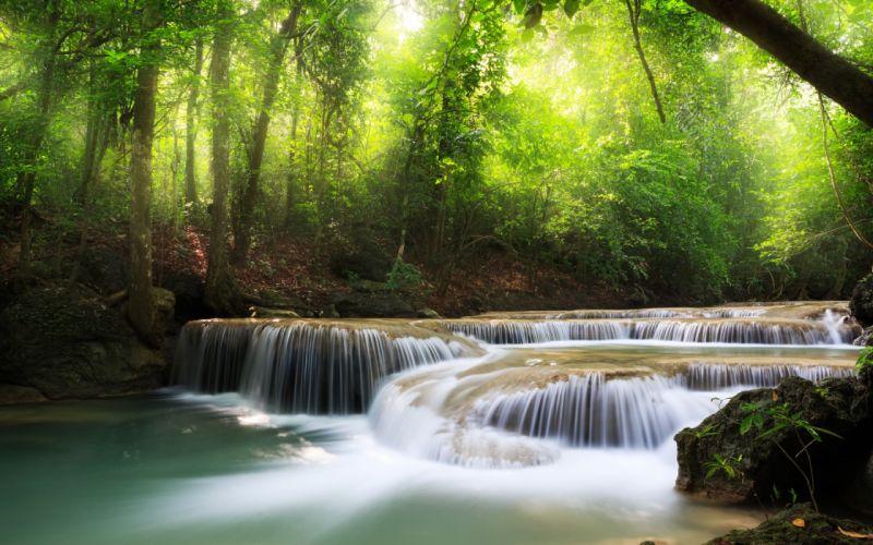 Landscape Waterfall Forest wallpaper