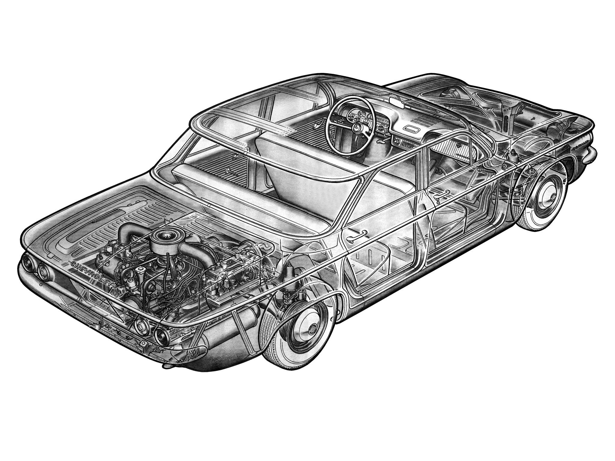 1960 Chevrolet Corvair 700 Sedan (700-69) classic interior engine f ...