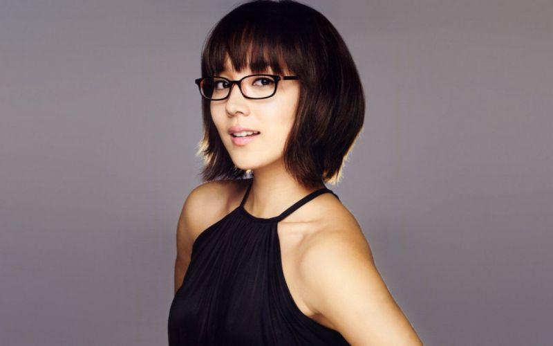 Woman Girl Beauty Brunette Short Hair Asian Black Dress Eugene Kim Girls with glasses wallpaper