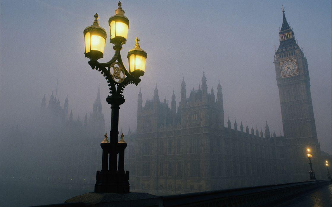 Cityscape London Fog wallpaper