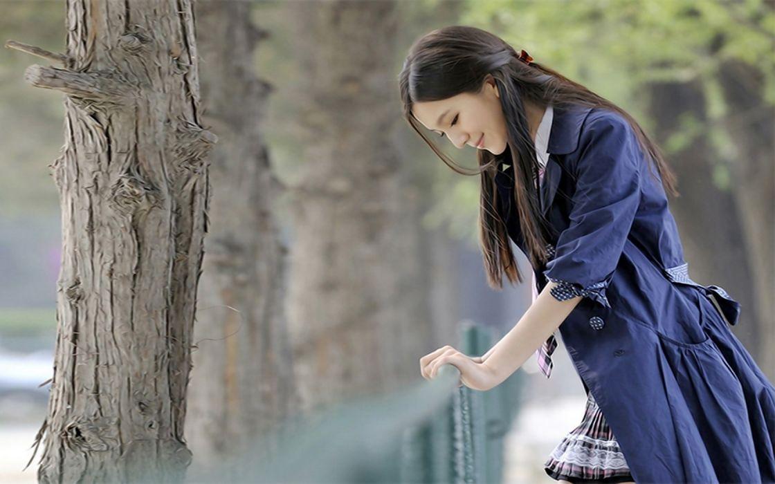 Asian Girl Beauty Outdoor Jacket wallpaper