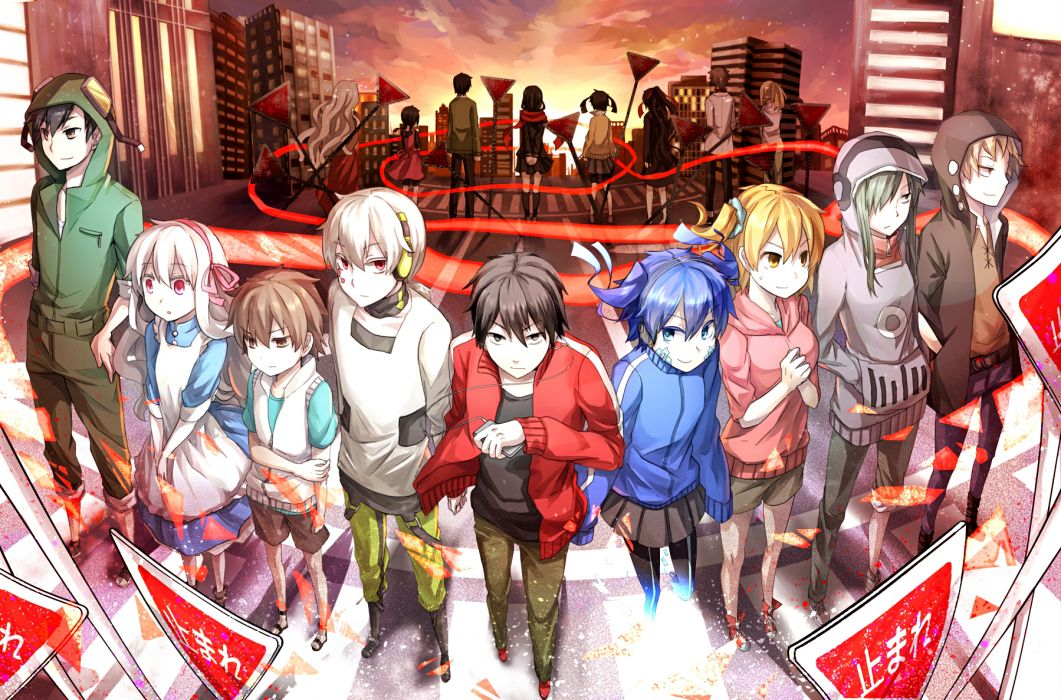 kagerou project black eyes blue eyes blue hair city dress green hair group headband headphones long hair red eyes scarf seifuku shorts skirt sunset twintails wallpaper