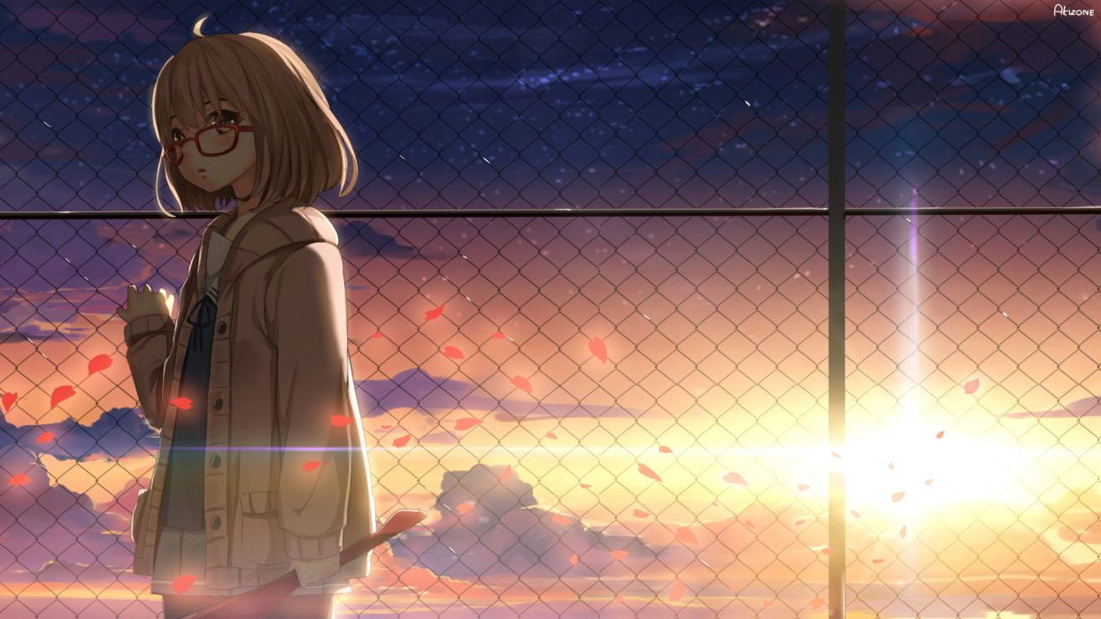kyoukai no kanata akizone blush brown eyes brown hair clouds glasses kuriyama mirai kyoukai no kanata petals scenic sky sunset wallpaper