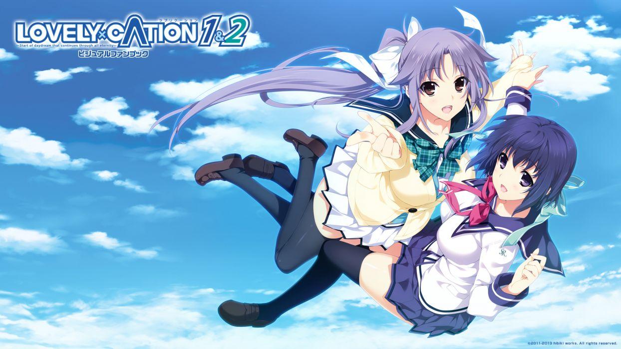 lovely x cation girls akatsuki-works blue hair iizuki tasuku nanasawa yuni narukawa hime seifuku sky thighhighs wallpaper