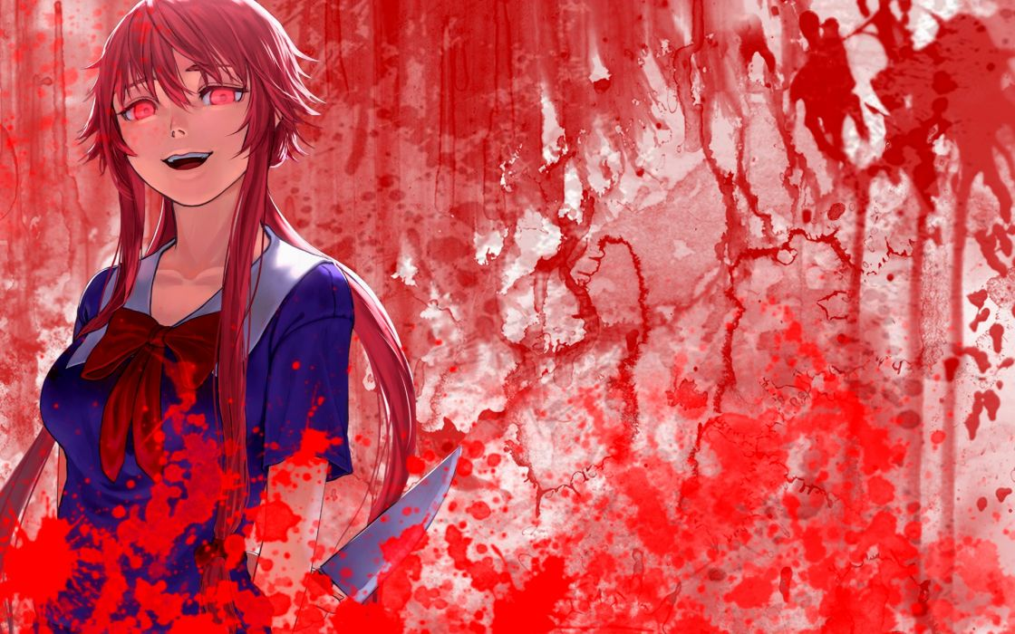 mirai nikki blood gasai yuno mirai nikki pink eyes pink hair wallpaper