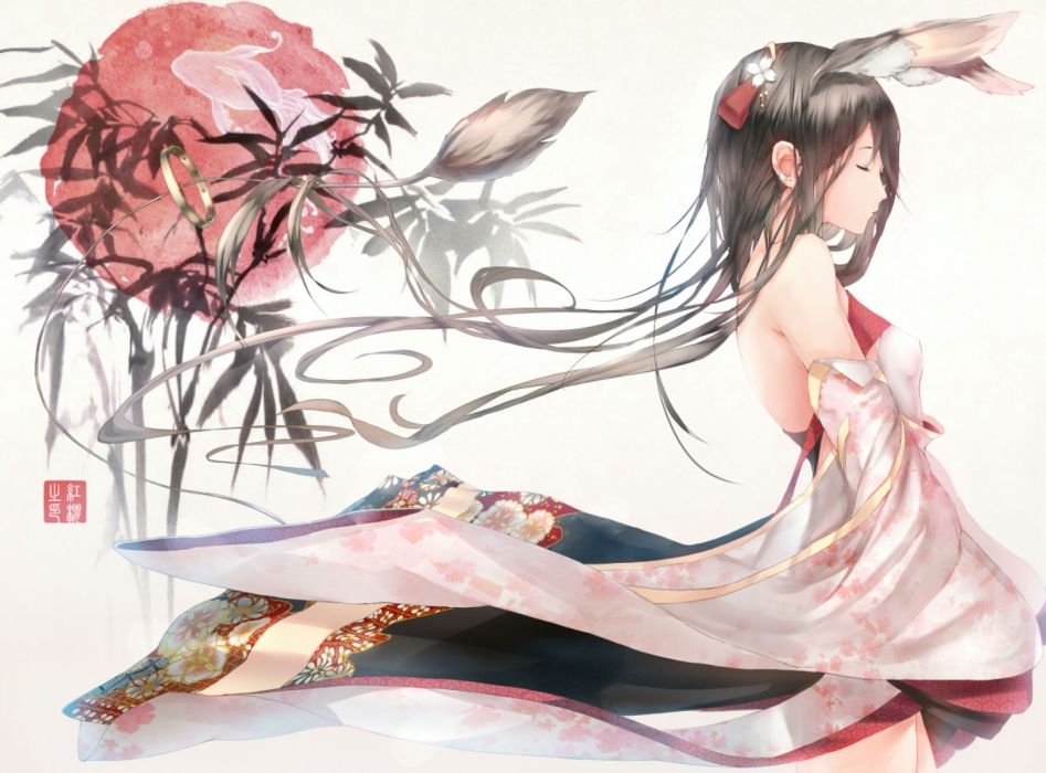 original animal animal ears fish hadean92 japanese clothes long hair original tail wallpaper