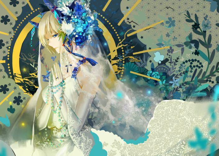 original blonde hair blue eyes flowers nibanmachi wakai original short hair wedding dress wallpaper