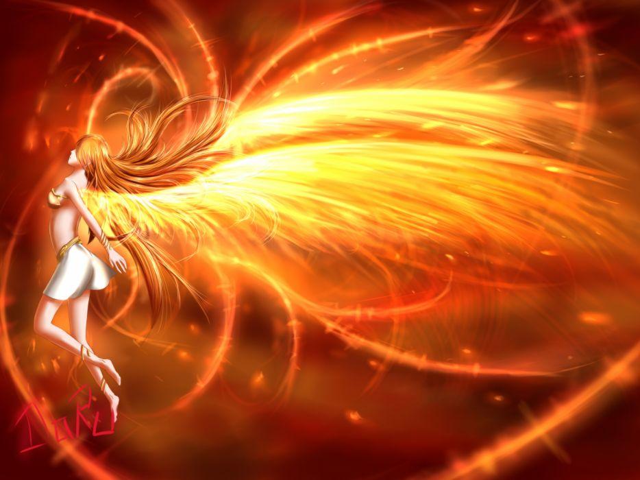 original breasts juh-juh long hair orange hair original skirt wings wallpaper