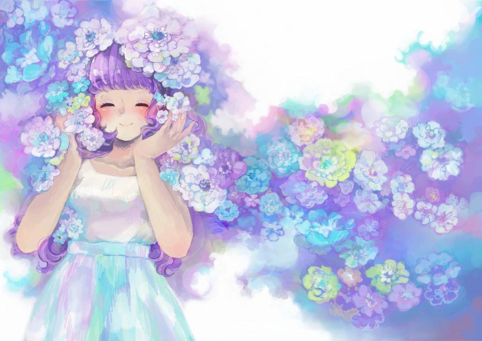 original flowers purple hair shirozatou wallpaper