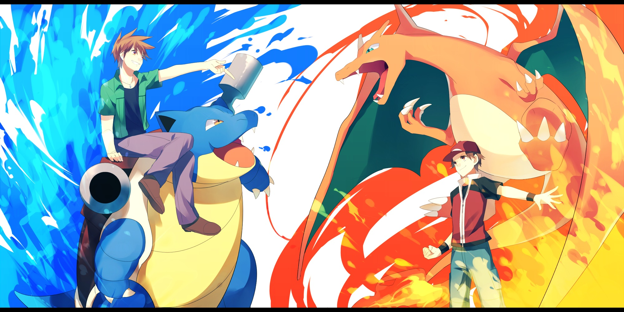 Pokemon Achiki Blastoise Charizard Fire Hat Ookido Green Pokemon Red Pokemon Water Wallpaper