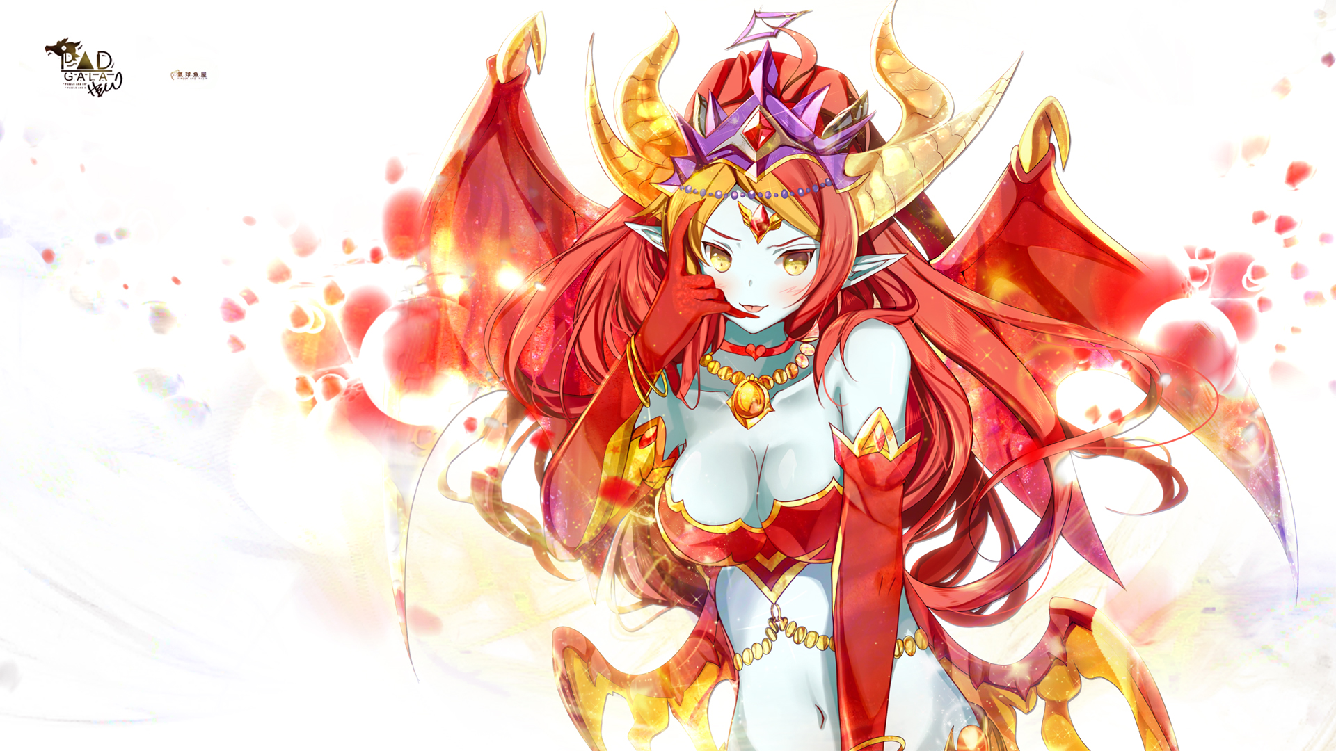 Puzzle & Dragons Heco Horns Red Hair Wings Wallpaper
