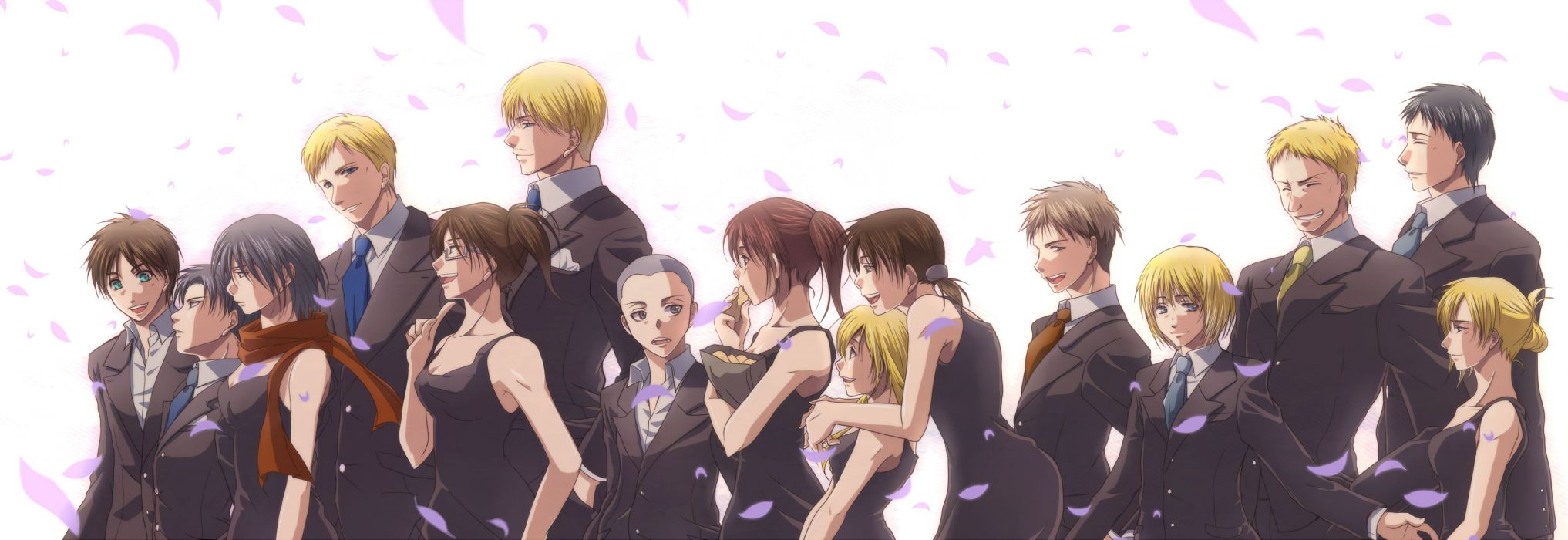 shingeki no kyojin armin arlert black hair blonde hair brown hair christa renz eren jaeger hanji zoe irvin smith petals reiner braun rivaille sasha browse suit wallpaper