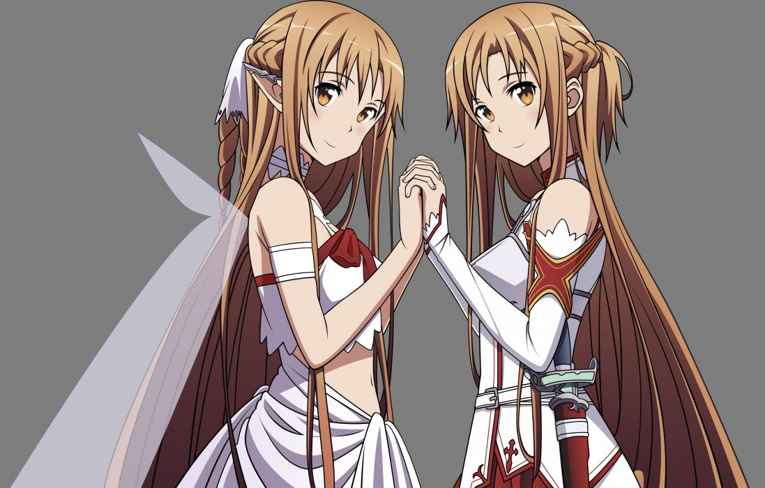 sword art online brown eyes brown hair elf long hair transparent uniform vector weapon wings yuuki asuna wallpaper