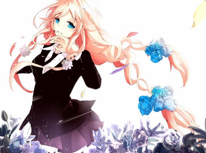 vocaloid blonde hair blue eyes braids flowers ia kurosakiinu tie vocaloid wallpaper