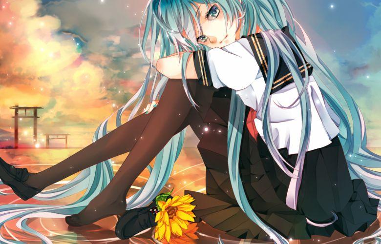 vocaloid flowers hatsune miku isagot pantyhose seifuku sunflower vocaloid wallpaper