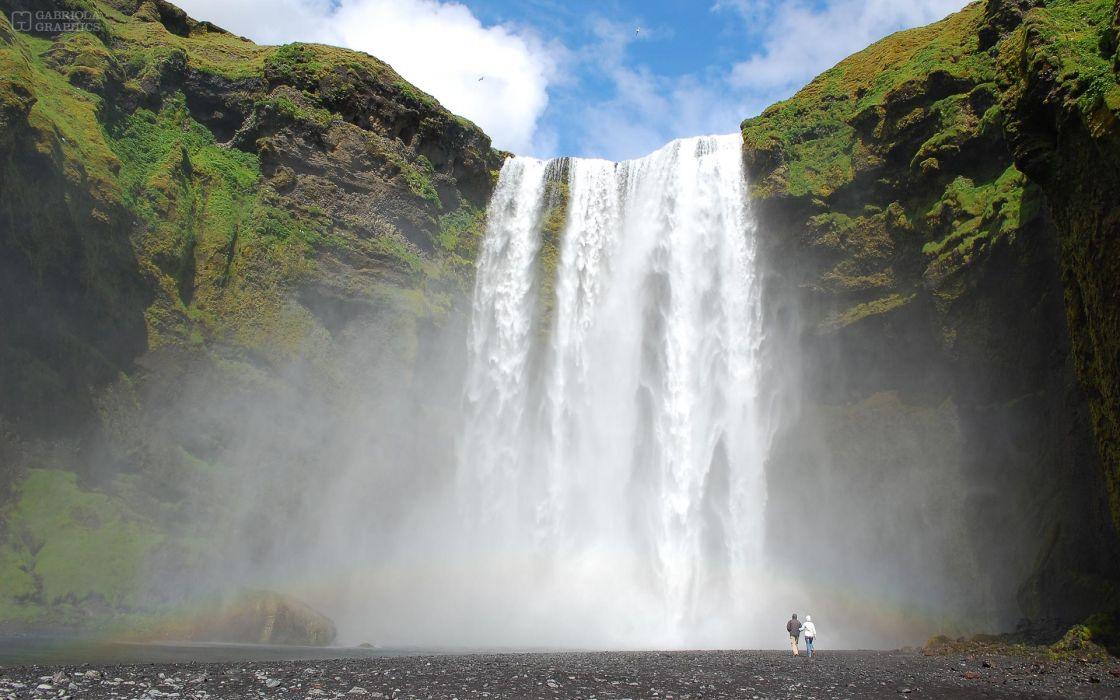 Waterfall Person wallpaper