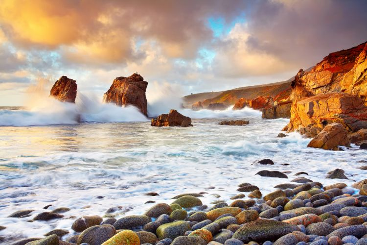 california rocks clouds ocean waves wallpaper