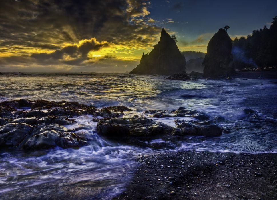 cliffs sunset coast ocean wallpaper