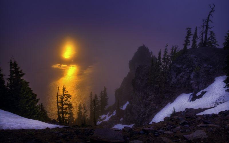 Crater Lake Oregon dawn sunrise rocks trees lake reflection wallpaper