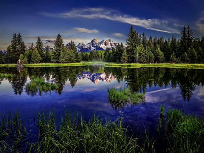 lake reflection forest mountains wallpaper