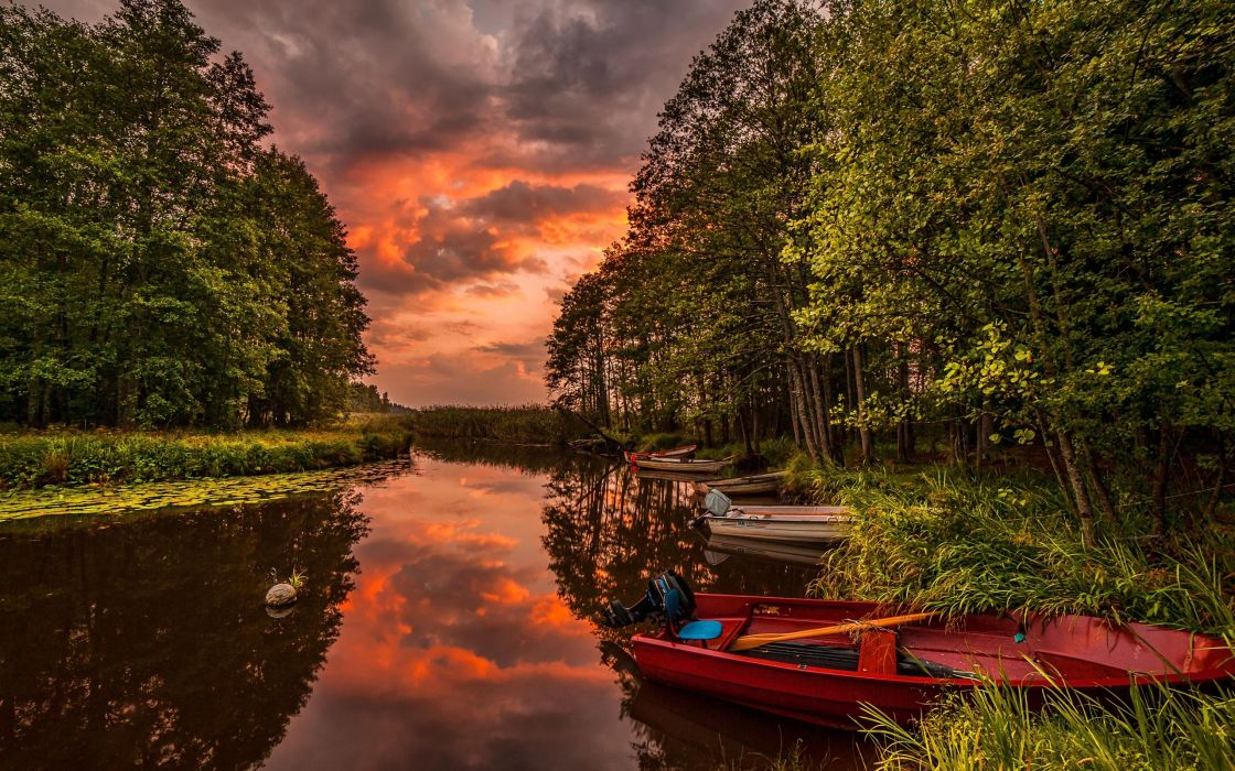 river boats forest sunset landscape wallpaper