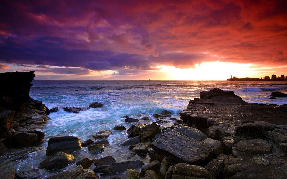 sunset sea rocks landscape wallpaper