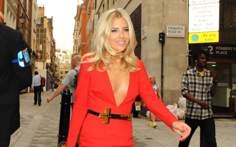 Woman Girl Beauty Mollie King Blonde Red Dress wallpaper