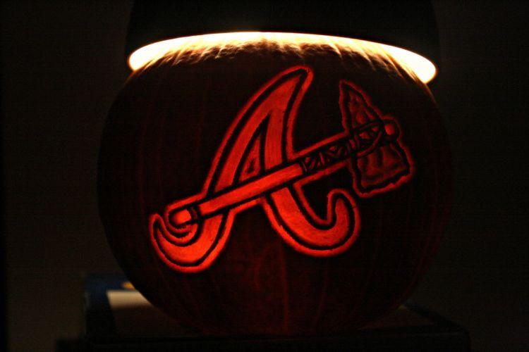 ATLANTA BRAVES baseball mlb halloween pumpkin f wallpaper