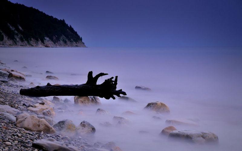 Landscape Ocean Shore Evening wallpaper