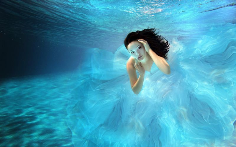 Woman Girl Beauty Brunette Underwater wallpaper