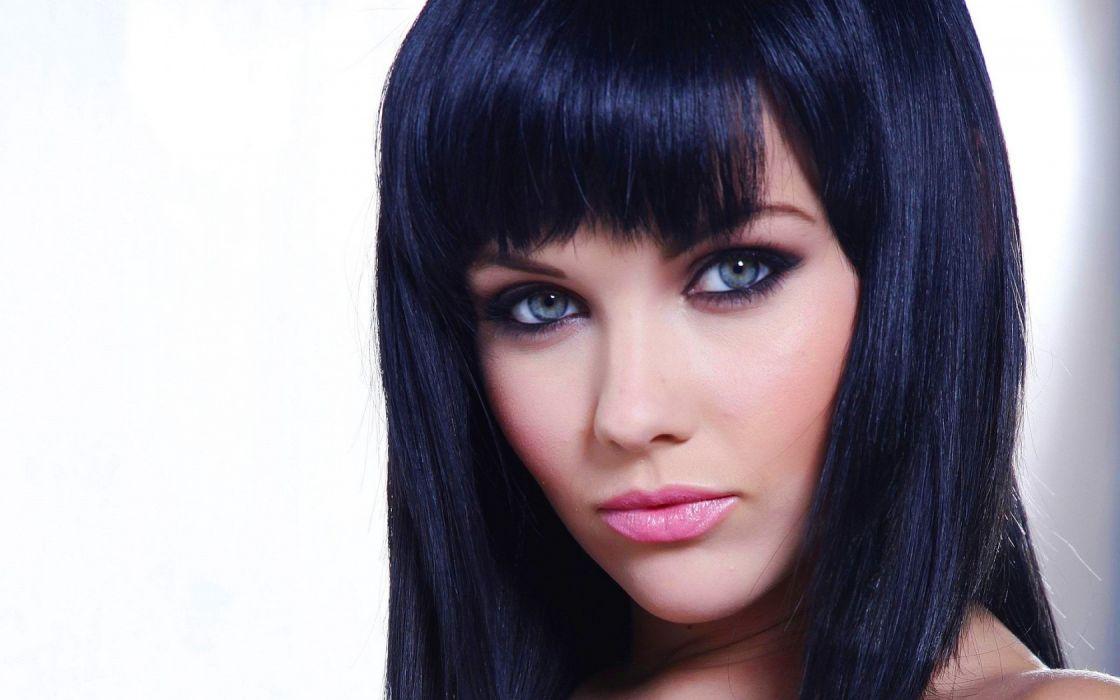 Woman Girl Beauty Brunette Blue Eyes Melissa Clarke wallpaper
