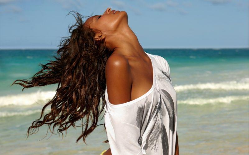 Woman Girl Beauty Beach Sensual Brunette wallpaper