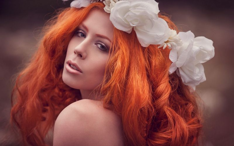 Woman Girl Beauty Redhead White Flowers wallpaper