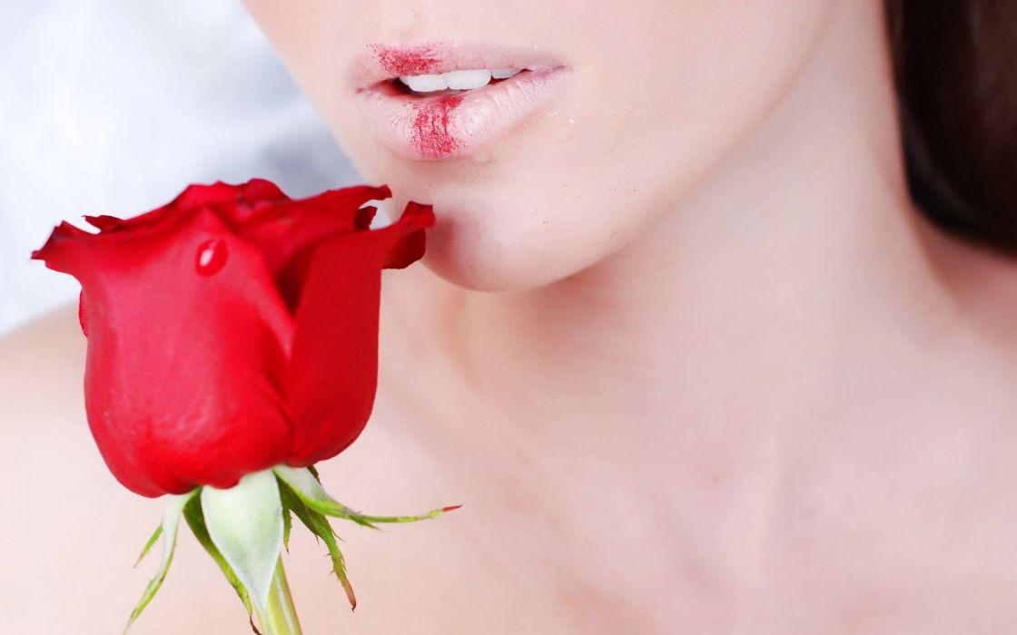 Woman Girl Beauty Lips Red Rose wallpaper