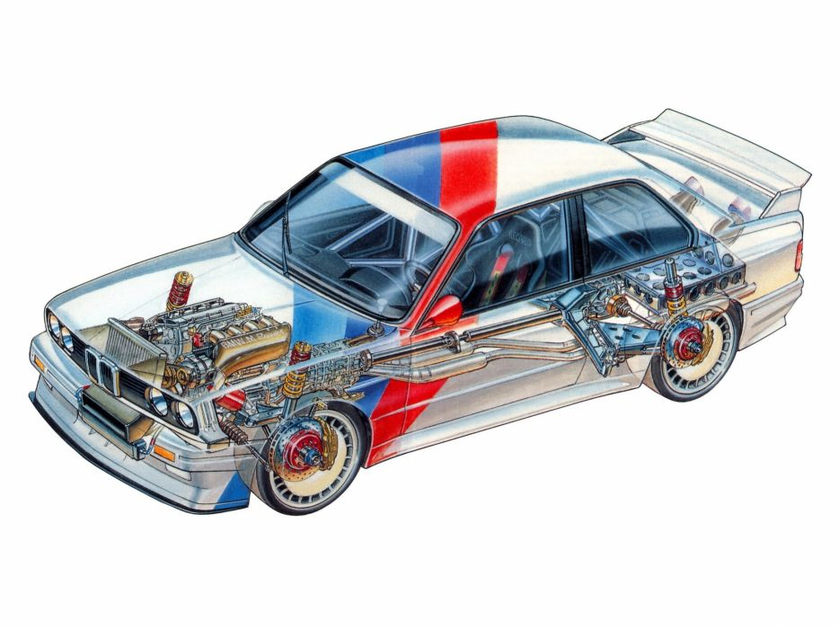 1987 BMW M3 Group-A DTM (E30) race racing m-3 interior engine       f wallpaper