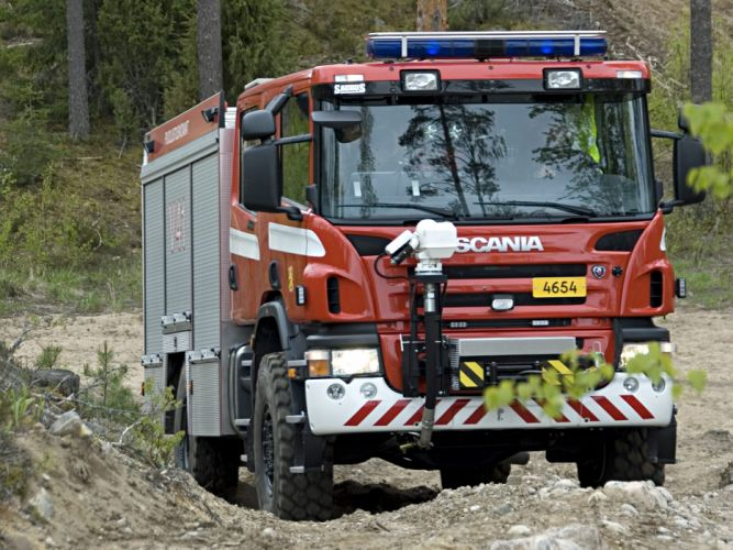 2005 Scania P380 4x4 Crew Cab Fire Engine firetruck emergency f wallpaper