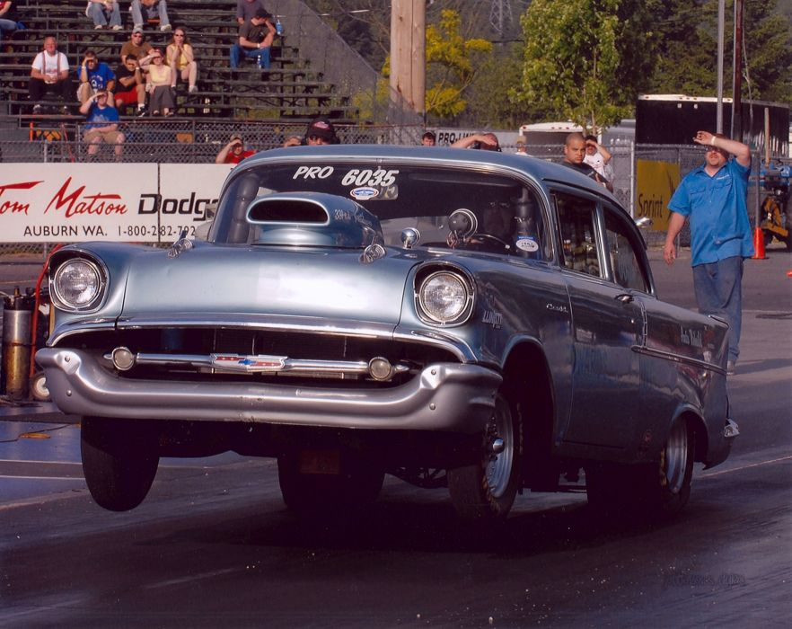drag racing race hot rod rods chevrolet bel air retro         f wallpaper