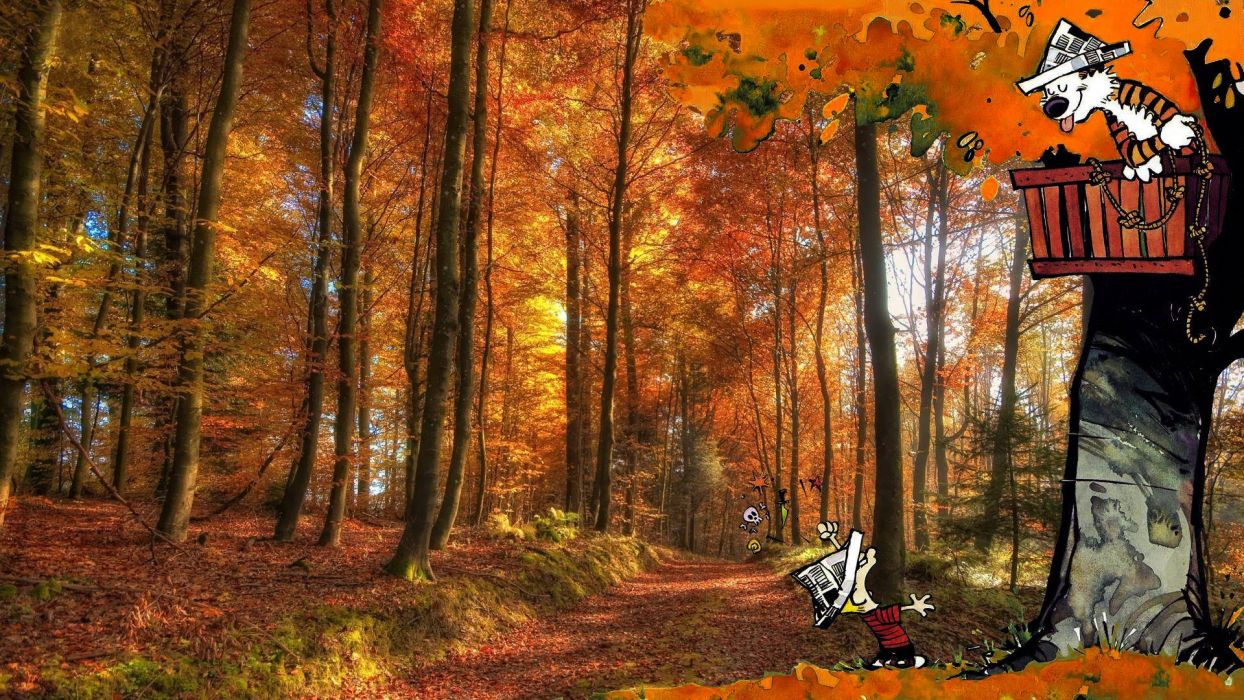 Calvin And Hobbes Comics Autumn Forest Wallpaper 1920x1080
