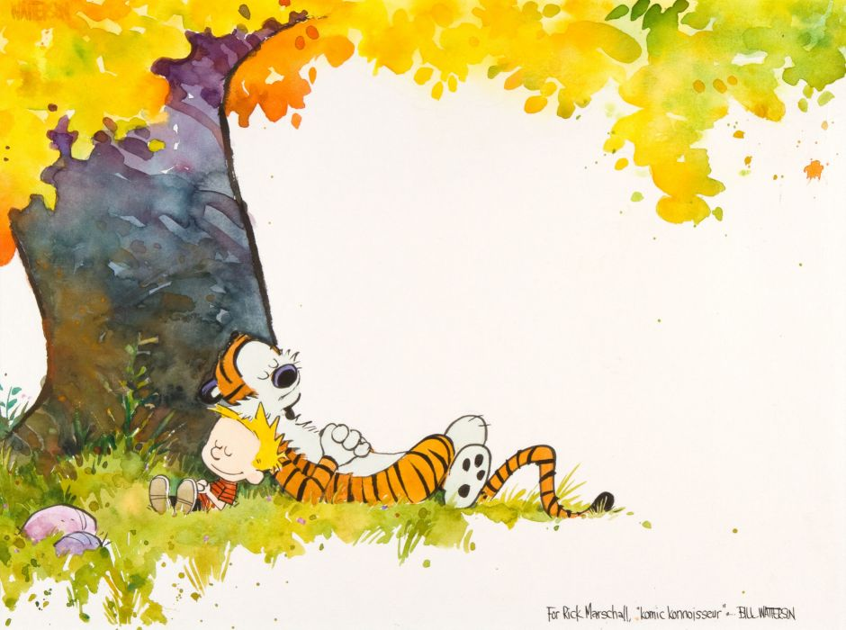 calvin and hobbes comics autumn mood      g wallpaper