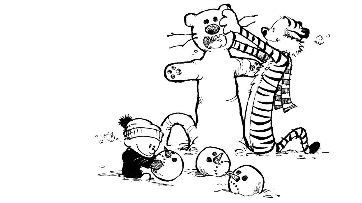 Calvin And Hobbes Comics Christmas G Wallpaper 2400x1350