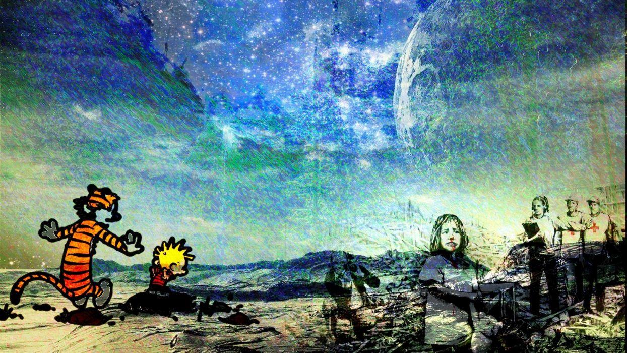 Calvin And Hobbes Comics Dark Stars Surreal G Wallpaper