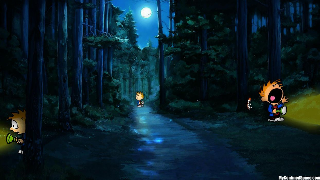 calvin and hobbes comics forest trees mood    g wallpaper