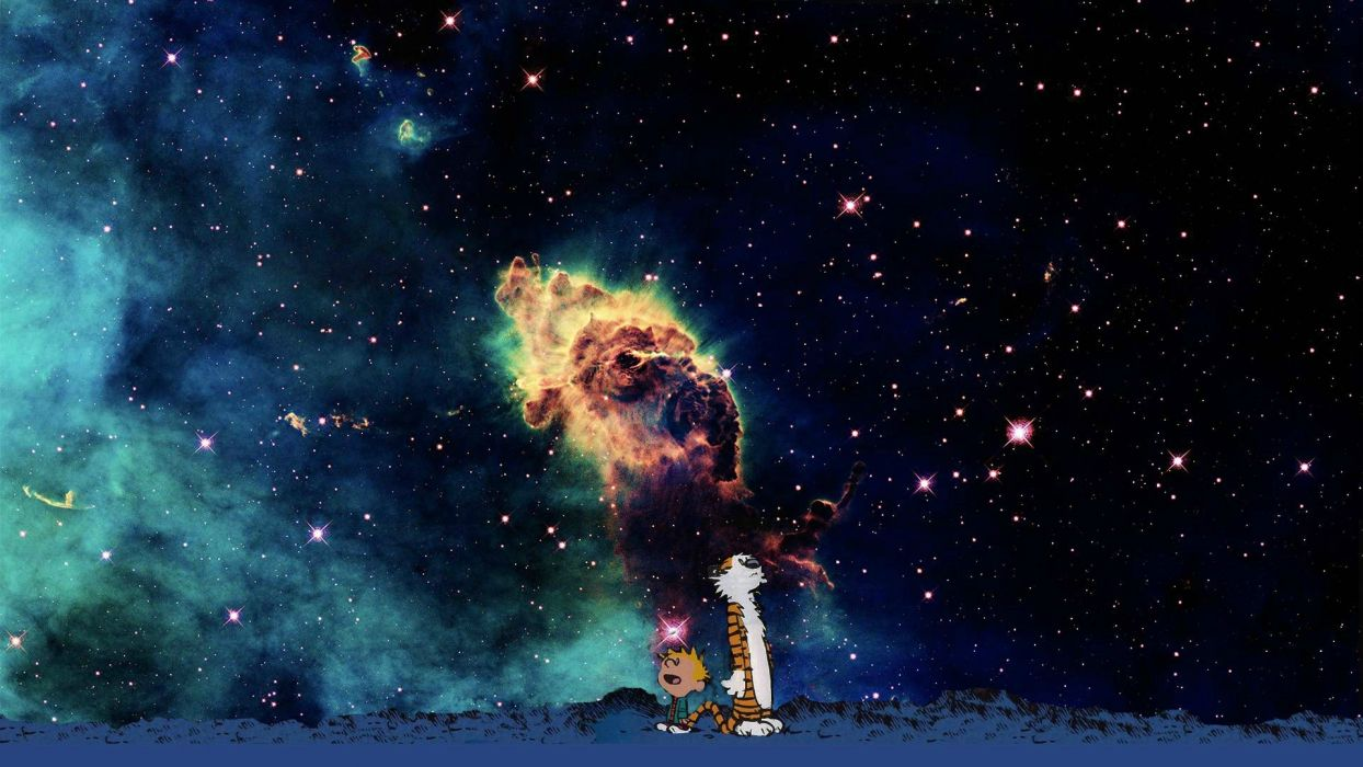 calvin and hobbes comics sci-fi nebula sky stars mood wallpaper