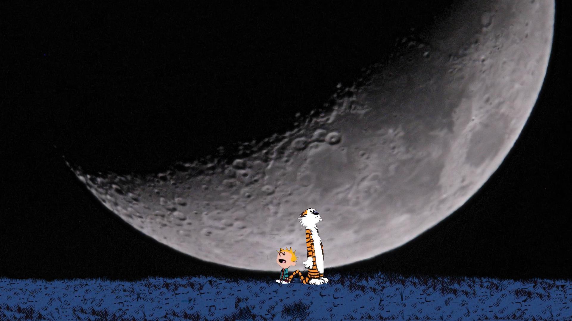 Calvin And Hobbes Comics Sci Fi Planet Sky Moon Mood F Wallpaper