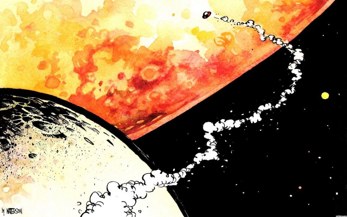 calvin and hobbes comics sci-fi spaceship planet wallpaper