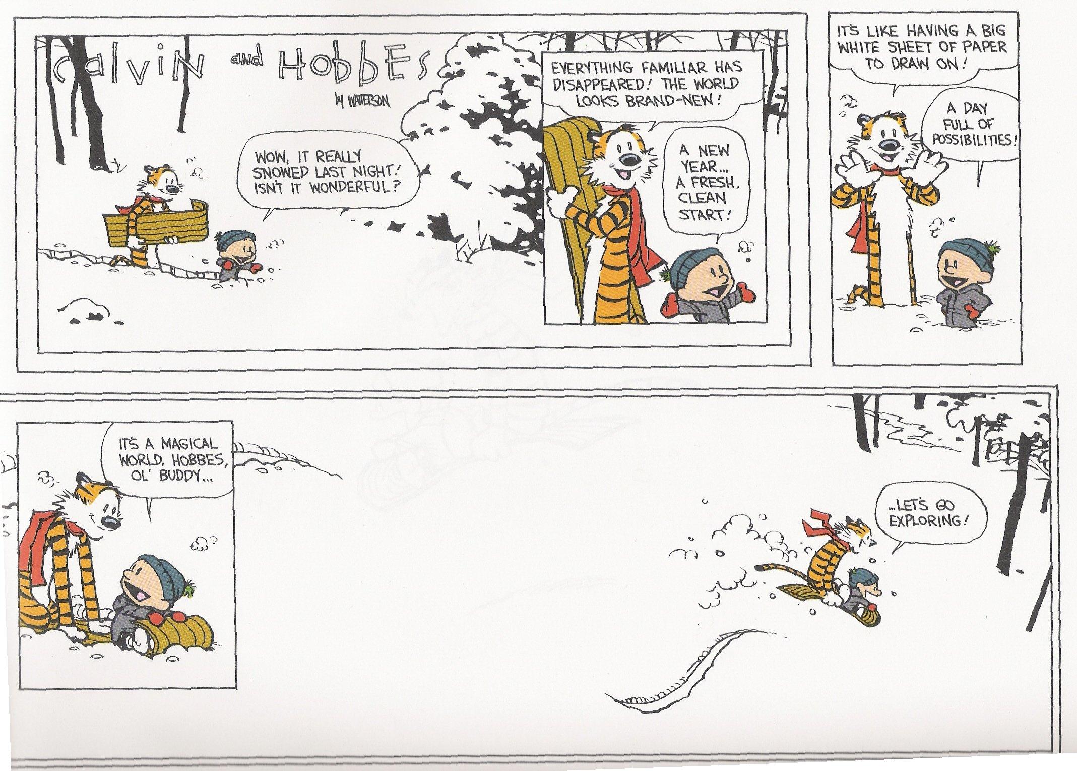 Calvin And Hobbes Comics Winter Snow Christmas Wallpaper
