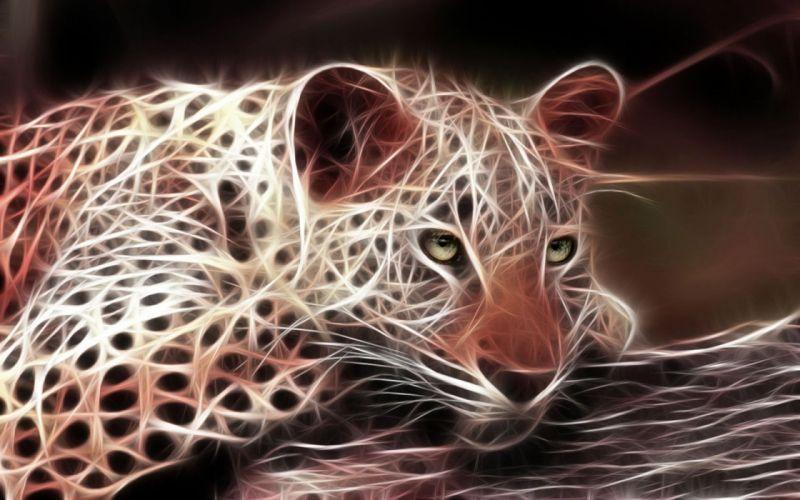 animals predator leopard 3d fractal wallpaper