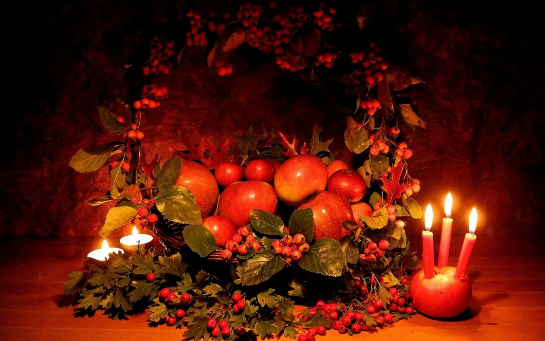apples hawthorn candles basket composition thanksgiving wallpaper