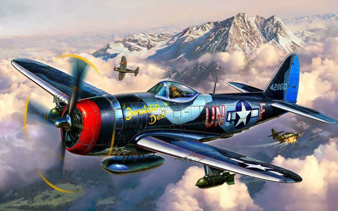 art thunderbolt republic plane p-47 military wallpaper