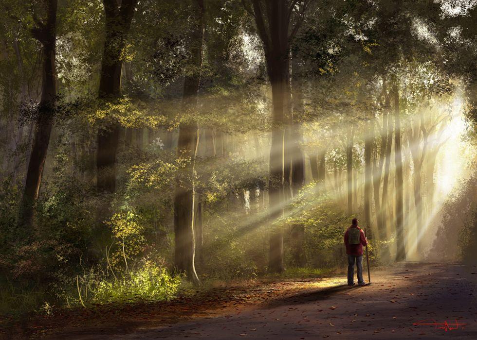 art man traveler road forest mood wallpaper